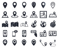 Map pointer icons, gps location symbol for navigation Stock Images