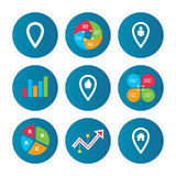 Map pointer icons. Home, food and user location. Stock Images