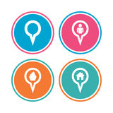 Map pointer icons. Home, food and user location. Stock Photos