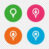 Map pointer icons. Home, food and user location. Royalty Free Stock Image