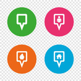 Map pointer icons. Home, food and user location. Royalty Free Stock Photo