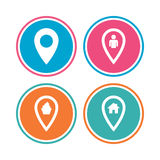 Map pointer icons. Home, food and user location. Royalty Free Stock Images