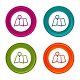 Map Pointer icons. Marker signs. Location symbol. Colorful web button with icon. royalty free illustration