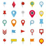 Map pointer icons set, flat style. Map pointer icons set. Flat illustration of 25 map pointer vector icons isolated on white background Stock Images