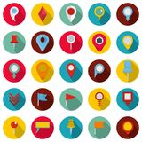 Map pointer icons set, flat style. Map pointer icons set. Flat illustration of 25 map pointer vector icons circle isolated on white Stock Photos