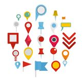 Map pointer icons set, flat style. Map pointer icons set. Flat illustration of 25 map pointer vector icons isolated on white background Royalty Free Stock Photo