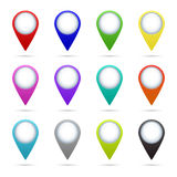 Map pointer icons set. Set of 12 map pointer icons. Vector EPS10 illustration Stock Illustration