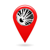 Map pointer. Index blasting and explosion hazard areas on the map. Safety symbol. The red object on a white background. Vector ill. Map pointer. Index blasting Stock Photos