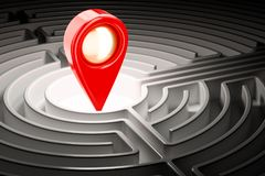 Map pointer inside labyrinth maze. 3D. Rendering Stock Image