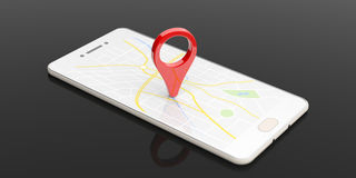 Map pointer location on a smartphone - black background. 3d illustration Stock Images