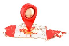 Map pointer on the map of Canada, 3D rendering. Isolated on white background Royalty Free Stock Photo