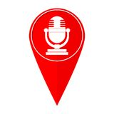 Map pointer microphone Royalty Free Stock Photos