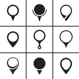 Map pointer navigation icons set Stock Photos