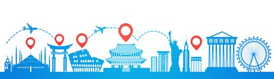 Map Pointer Over Famous Seoul Landmarks Travel Route Planning Tourism Destinations Concept. Flat Vector Illustration royalty free illustration