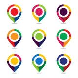 Map pointer pin. Set of icon map pointer pin with colorful design concept stock illustration