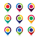 Map pointer pin. Set of icon map pointer pin with colorful design concept Stock Photo