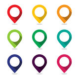 Map pointer pin. Set of icon pointer map pin with a wide variety of colors stock illustration