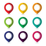 Map pointer pin. Set of icon pointer map pin with a wide variety of colors royalty free illustration