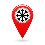 Map pointer. The pointer of snow drifts and icy areas on the map terrain. safety symbol. Red object on a white background. Vector. Map pointer. The pointer of Royalty Free Stock Photography