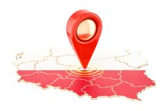 Map pointer on the map of Poland, 3D rendering vector illustration