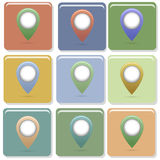 Map pointer. Retro collection of different colors Royalty Free Stock Images