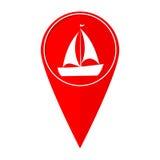 Map pointer Sailfish boat royalty free illustration