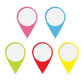 Map pointer set. Colorful round markers. Stock Photos