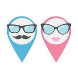 Map pointer set with lips, mustaches and glasses. Isolated marke Royalty Free Stock Photography