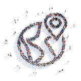 Map pointer shape icon 3D rendering. Large and creative group of people gathered together in the shape of a map pointer . 3D illustration, isolated against a Stock Images