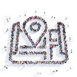 Map pointer shape icon 3D rendering. Large and creative group of people gathered together in the shape of a map pointer . 3D illustration, isolated against a Royalty Free Stock Photos
