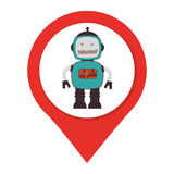 Map pointer silhouette with robot inside. Vector illustration Royalty Free Stock Photo