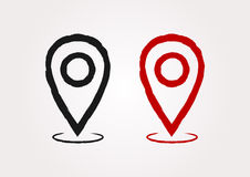 Map pointer. Silhouette sign location. Painted by hand with a rough brush. Symbol. Black and red icons. Vector illustration Stock Image