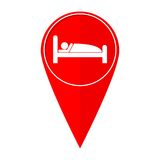 Map pointer sleeping symbol. Vector icon Royalty Free Stock Image