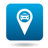 Map pointer with taxi icon in flat style Royalty Free Stock Photography