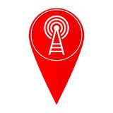 Map pointer transmitter tower Stock Photo