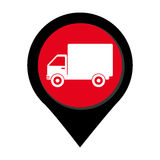 Map pointer with truck with wagon Royalty Free Stock Images