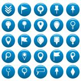 Map pointer vector icons set blue, simple style. Map pointer icons set blue. Simple illustration of 25 map pointer vector icons for web Royalty Free Stock Image