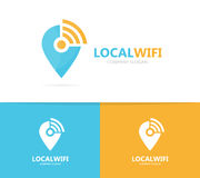 Map pointer and wifi logo combination. GPS locator and signal symbol or icon. Unique pin and radio, internet logotype. Logo or icon design element for companies Royalty Free Stock Photos