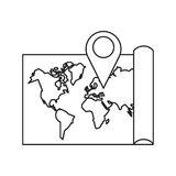 Map pointer world destination icon thin line Stock Photography