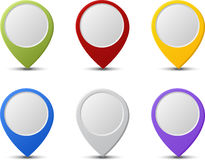 Map pointers. Set of six round, colorful map pointers Royalty Free Stock Photo
