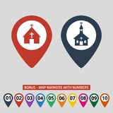 Map pointers with church icon on grey background stock illustration