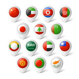 Map pointers with flags. Asia. Map pointers with flags illustration. Asia Royalty Free Stock Photo