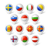 Map pointers with flags. Europe. Stock Photo
