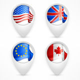 Map pointers with national flags Royalty Free Stock Photo