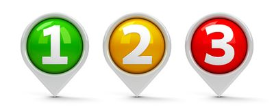 Map pointers 1 2 3. Map pointers with numbers 1, 2, 3 one, two, three isolated on white background, three-dimensional rendering, 3D illustration Stock Illustration
