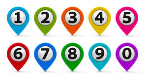 Map pointers with numbers set Royalty Free Stock Image