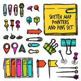 Map Pointers And Pins Sketch Stock Images