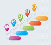 Map pointers steps infographic Royalty Free Stock Photos