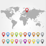 Map pointers with world map. World map with collection of 3D pointers Stock Photos