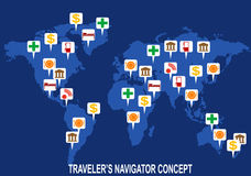 Map pointers with world map Royalty Free Stock Photography